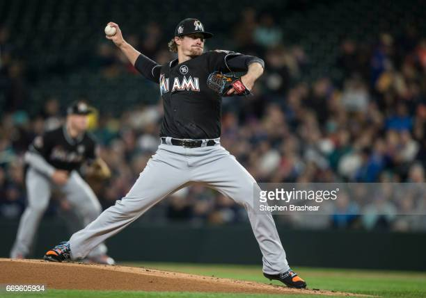 Starter Tom Koehler of the Miami Marlins delivers a pitch during a game Seattle Mariners at Safeco Field on April 17 2017 in Seattle Washington