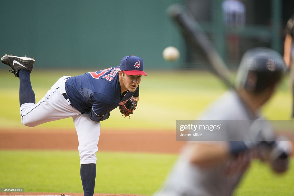 Starter Trevor Bauer #47 of the Cleveland Indians pitches against Ian Kinsler #3 of the Detroit Tigers during the first inning against the Detroit Tigers at Progressive Field on May 20, 2014 in Cleveland, Ohio.