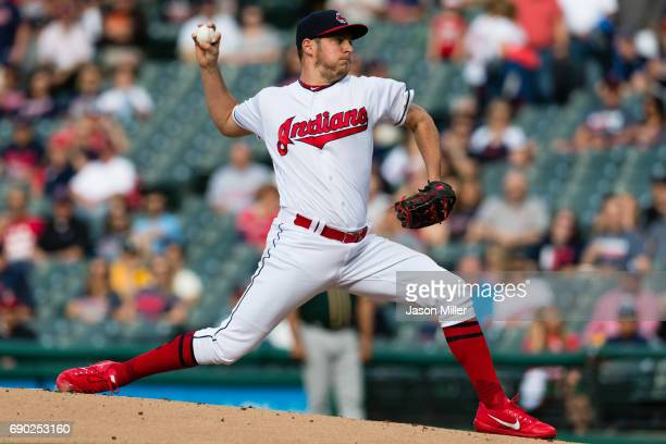Starter Trevor Bauer of the Cleveland Indians pitches during the first inning against the Oakland Athletics at Progressive Field on May 30 2017 in...