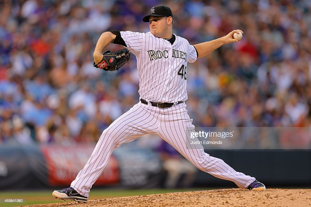 Starter Tyler Matzek #46 of the Colorado Rockies pitches during the fourth inning against the Kansas City Royals at Coors Field on August 19, 2014 in Denver, Colorado.