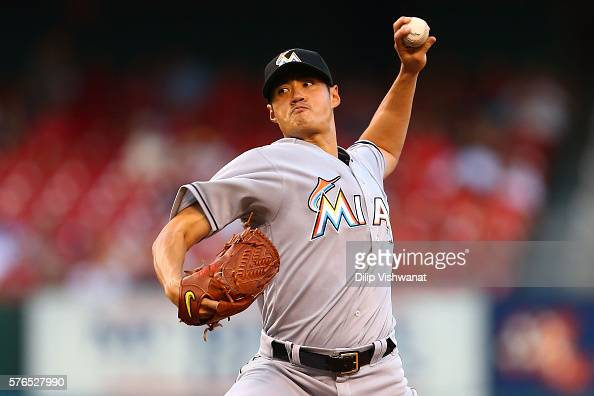 Starter WeiYin Chen of the Miami Marlins pitches against the St Louis Cardinals in the first inning at Busch Stadium on July 15 2016 in St Louis...