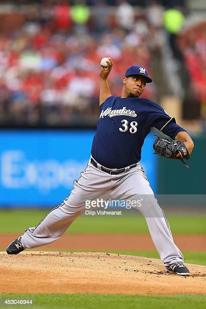 Starter Wily Peralta of the Milwaukee Brewers pitches against the St Louis Cardinals in the first inning at Busch Stadium on August 1 2014 in St...