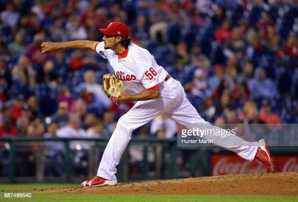 Starter Zach Eflin of the Philadelphia Phillies throws a pitch in the fourth inning during a game against the Colorado Rockies at Citizens Bank Park...
