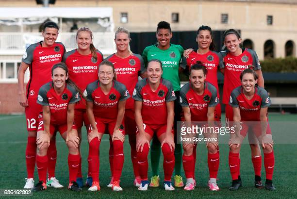 Starters for Portland Thorns FC pose before an NWSL regular season match between the Boston Breakers and Portland Thorns FC on May 19 at Jordan Field...