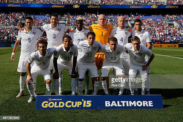 Starters for team USA pose for a group photo before their match agasint Cuba during the 2015 CONCACAF Gold Cup quarterfinal match at MT Bank Stadium...