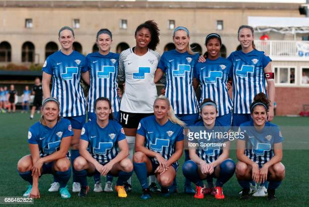 Starters for the Boston Breakers pose before an NWSL regular season match between the Boston Breakers and Portland Thorns FC on May 19 at Jordan...