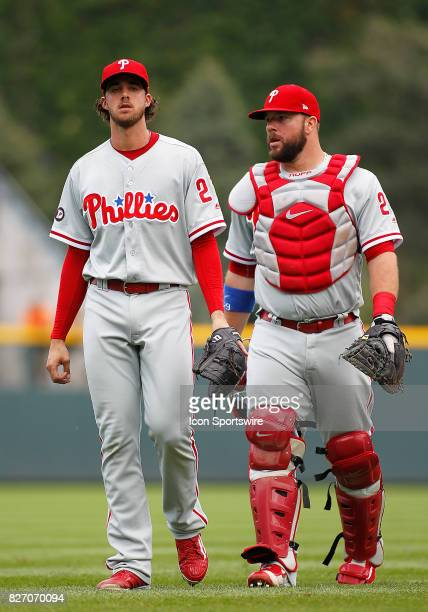 Starting battery Philadelphia Phillies Starting Pitcher Aaron Nola and Catcher Cameron Rupp during a regular season MLB game between the Colorado...
