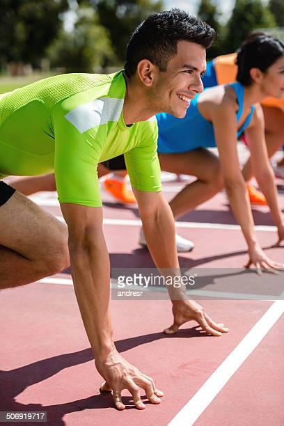 Starting block of athletes