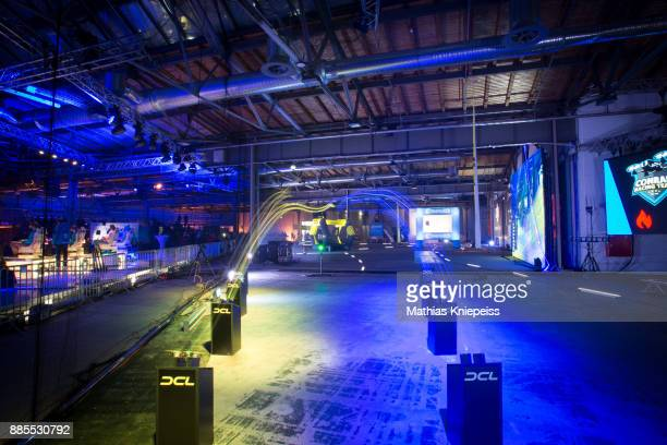Starting blocks on track at Station Berlin during the DCL Drone Champions League Championship Finals in Berlin on December 02 2017 in Berlin Germany