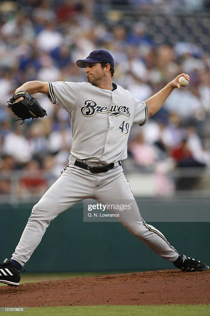 Starting Brewers pitcher <a gi-track='captionPersonalityLinkClicked' href=/galleries/search?phrase=Doug+Davis+-+Baseball+Pitcher&family=editorial&specificpeople=15809391 ng-click='$event.stopPropagation()'>Doug Davis</a> during action between the Milwaukee Brewers and Kansas City Royals at Kauffman Stadium in Kansas City, Missouri on June 24, 2006.