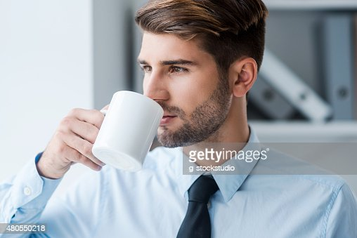 Starting day with fresh coffee. : Stock Photo