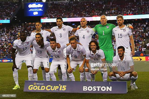 Starting line up of the United States before the 2015 CONCACAF Gold Cup match between United States and Haiti at Gillette Stadium on July 10 2015 in...
