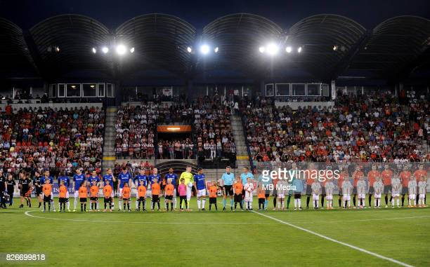 Starting match teams presentation reacts during the UEFA Europa League Qualifier between MFK Ruzomberok and Everton on August 3 2017 in Ruzomberok...
