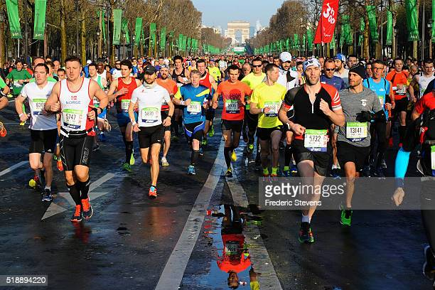 Starting on the Champs Elysees avenue for the 40th Paris Marathon crossing the French capital on April 3 2016 in Paris France 57000 participants from...