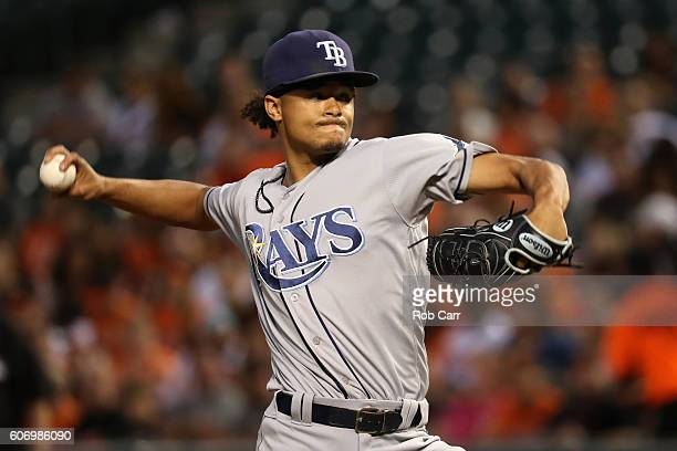 Starting pictcher Chris Archer of the Tampa Bay Rays throws to a Baltimore Orioles batter in the first inning at Oriole Park at Camden Yards on...