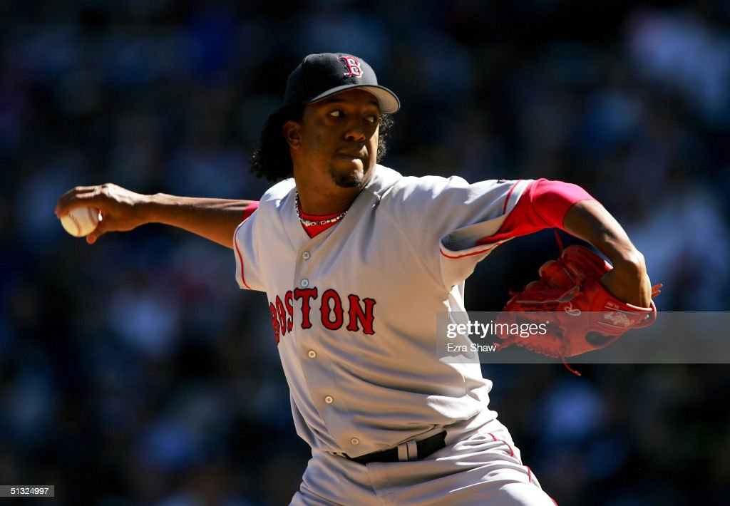 Starting pictcher Pedro Martinez #45 of the Boston Red Sox pitches against the New York Yankees on September 19, 2004 at Yankee Stadium in the Bronx, New York. The Yankees beat the Red Sox 11-1.