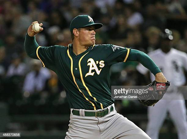 Starting pitcher Aaron Brooks of the Oakland Athletics delivers the ball against the Chicago White Sox at US Cellular Field on September 15 2015 in...
