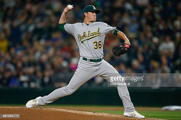 Starting pitcher Aaron Brooks of the Oakland Athletics pitches against the Seattle Mariners in the first inning at Safeco Field on October 2 2015 in...