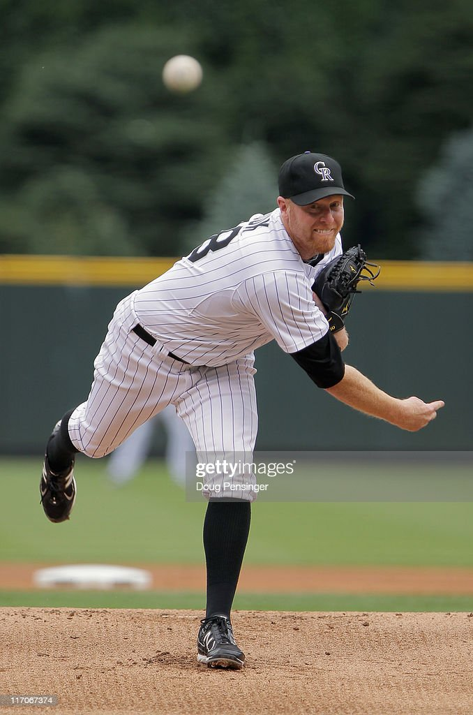Starting pitcher Aaron Cook of the Colorado Rockies delivers against the Detroit Tigers at Coors Field on June 19 2011 in Denver Colorado Cook...