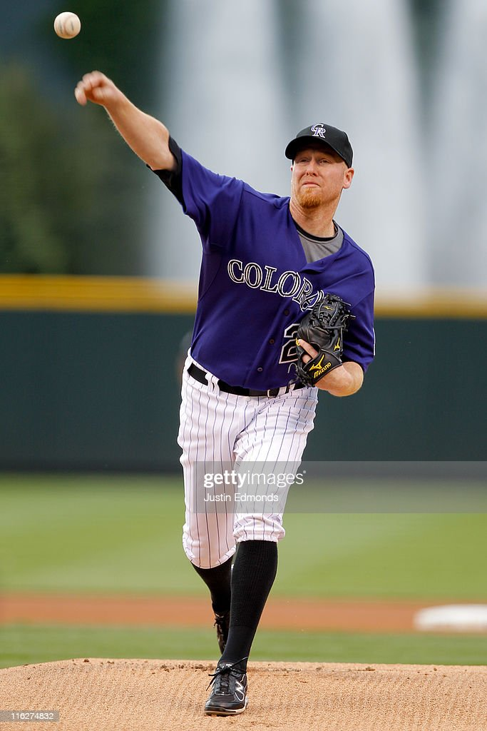Starting pitcher Aaron Cook of the Colorado Rockies during a game against the San Diego Padres at Coors Field on June 13 2011 in Denver Colorado Cook...