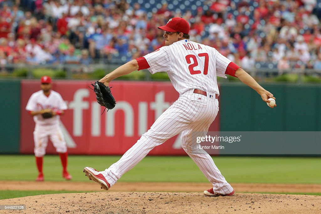 Starting pitcher Aaron Nola #27 of the Philadelphia Phillies throws a pitch in the third inning during a game against the Kansas City Royals at Citizens Bank Park on July 2, 2016 in Philadelphia, Pennsylvania.