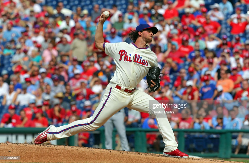 Starting pitcher Aaron Nola #27 of the Philadelphia Phillies throws a pitch in the second inning during a game against the San Diego Padres at Citizens Bank Park on July 8, 2017 in Philadelphia, Pennsylvania.