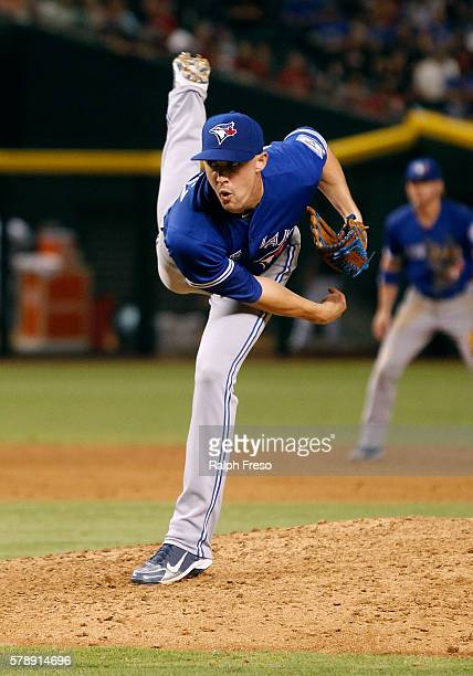 Starting pitcher Aaron Sanchez of the Toronto Blue Jays pitches against the Arizona Diamondbacks during the sixth inning of a MLB interleague game at...