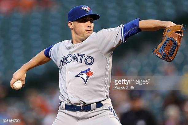 Starting pitcher Aaron Sanchez of the Toronto Blue Jays works the first inning against the Baltimore Orioles at Oriole Park at Camden Yards on August...