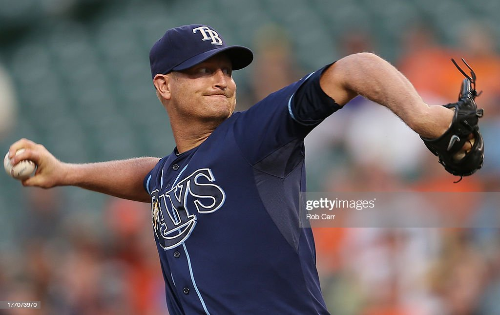 Starting pitcher <a gi-track='captionPersonalityLinkClicked' href=/galleries/search?phrase=Alex+Cobb&family=editorial&specificpeople=7512114 ng-click='$event.stopPropagation()'>Alex Cobb</a> #53 of the Tampa Bay Rays throws to a Baltimore Orioles batter during the first inning at Oriole Park at Camden Yards on August 20, 2013 in Baltimore, Maryland.