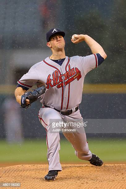 Starting pitcher Alex Wood of the Atlanta Braves delivers to home plate during the first inning against the Colorado Rockies at Coors Field on July 9...