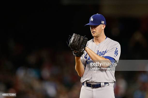 Starting pitcher Alex Wood of the Los Angeles Dodgers pitches against the Arizona Diamondbacks during the MLB game at Chase Field on September 11...