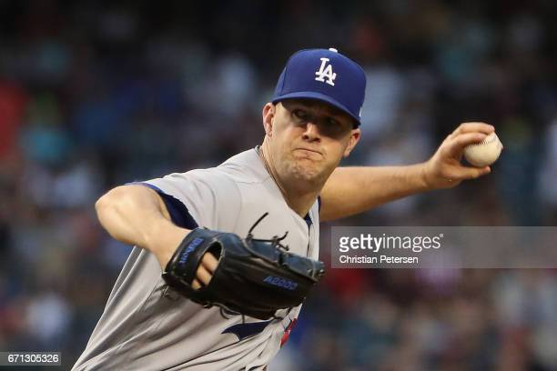 Starting pitcher Alex Wood of the Los Angeles Dodgers pitches against the Arizona Diamondbacks during the first inning of the MLB game at Chase Field...