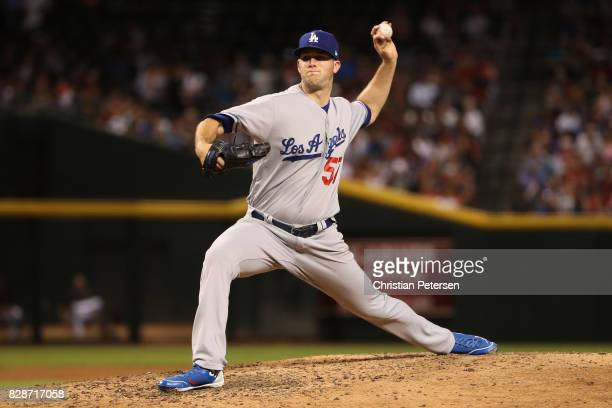 Starting pitcher Alex Wood of the Los Angeles Dodgers pitches against the Arizona Diamondbacks during the third inning of the MLB game at Chase Field...