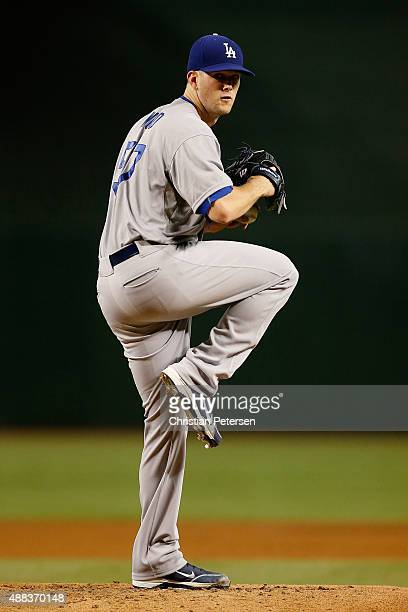 Starting pitcher Alex Wood of the Los Angeles Dodgers throws a pitch in between innings during the MLB game against the Arizona Diamondbacks at Chase...