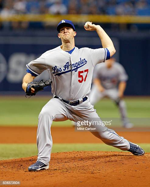 Starting pitcher Alex Wood of the Los Angeles Dodgers throws during the second inning of a game against the Tampa Bay Rays at Tropicana Field on May...