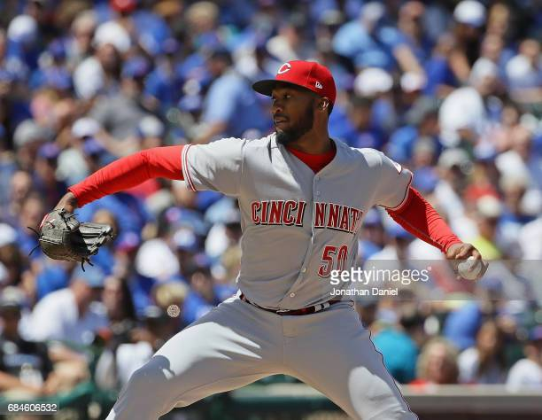 Starting pitcher Amir Garrett of the Cincinnati Reds delivers the ball against the Chicago Cubs at Wrigley Field on May 18 2017 in Chicago Illinois