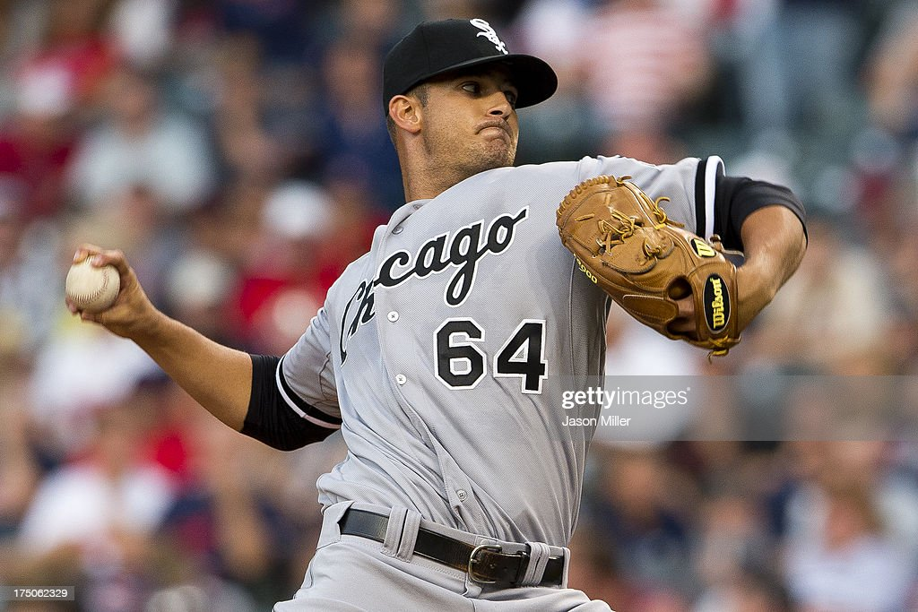 Starting pitcher Andre Rienzo #64 of the Chicago White Sox pitches during the fourth inning against the Cleveland Indians at Progressive Field on July 30, 2013 in Cleveland, Ohio.