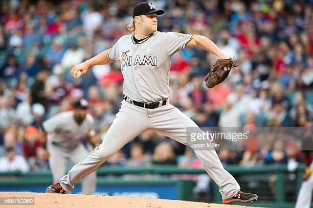 Starting pitcher Andrew Cashner of the Miami Marlins pitches during the first inning against the Cleveland Indians during an interleague game at...