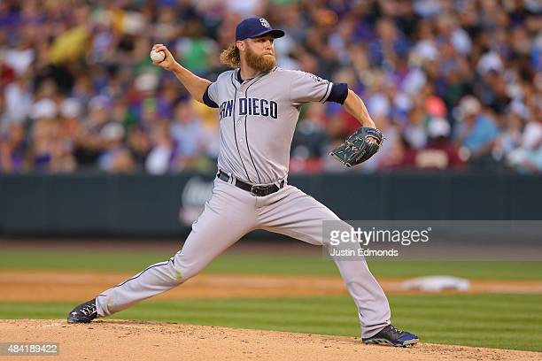 Starting pitcher Andrew Cashner of the San Diego Padres delivers to home plate during the third inning against the Colorado Rockies at Coors Field on...