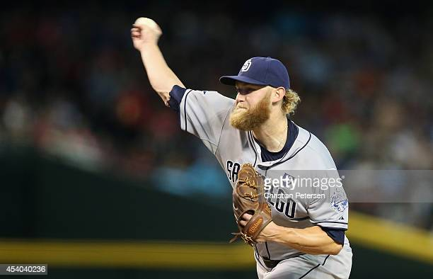 Starting pitcher Andrew Cashner of the San Diego Padres pitches against the Arizona Diamondbacks during the MLB game at Chase Field on August 23 2014...