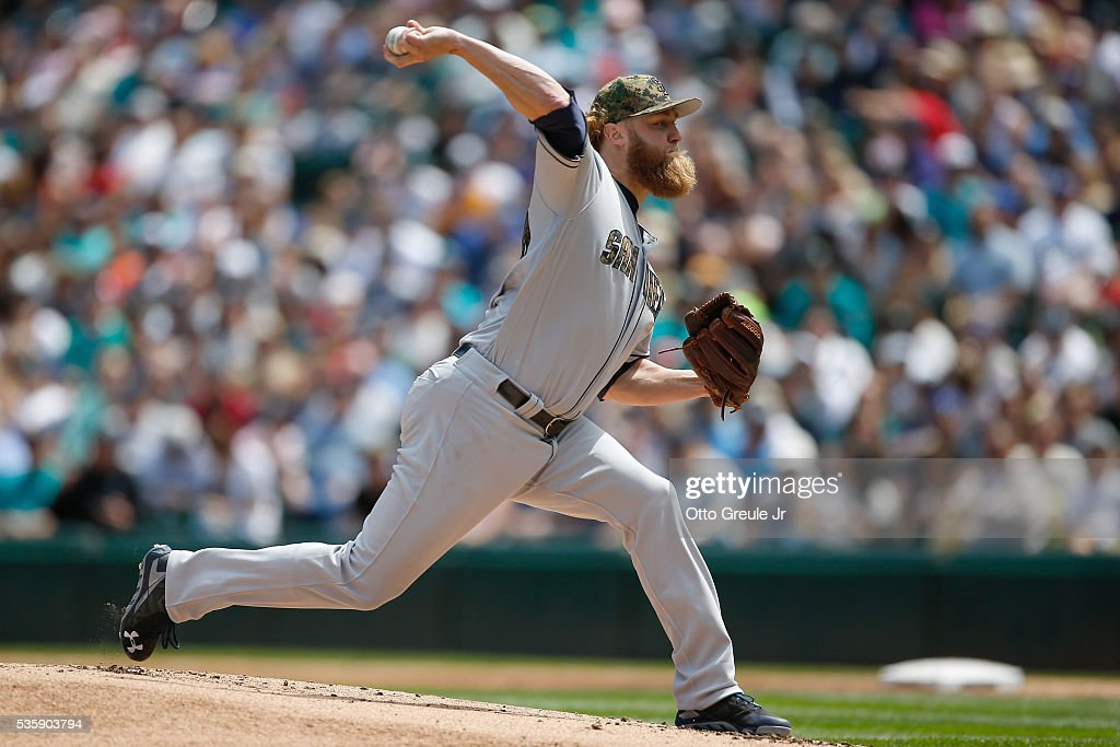 Starting pitcher <a gi-track='captionPersonalityLinkClicked' href=/galleries/search?phrase=Andrew+Cashner&family=editorial&specificpeople=5742254 ng-click='$event.stopPropagation()'>Andrew Cashner</a> #34 of the San Diego Padres pitches against the Seattle Mariners in the first inning at Safeco Field on May 30, 2016 in Seattle, Washington.