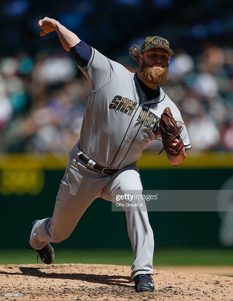 Starting pitcher <a gi-track='captionPersonalityLinkClicked' href=/galleries/search?phrase=Andrew+Cashner&family=editorial&specificpeople=5742254 ng-click='$event.stopPropagation()'>Andrew Cashner</a> #34 of the San Diego Padres pitches against the Seattle Mariners in the fourth inning at Safeco Field on May 30, 2016 in Seattle, Washington.