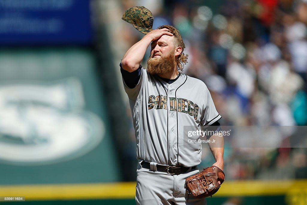 Starting pitcher <a gi-track='captionPersonalityLinkClicked' href=/galleries/search?phrase=Andrew+Cashner&family=editorial&specificpeople=5742254 ng-click='$event.stopPropagation()'>Andrew Cashner</a> #34 of the San Diego Padres reacts after giving up a two-run homer to Kyle Seager of the Seattle Mariners in the sixth inning at Safeco Field on May 30, 2016 in Seattle, Washington.