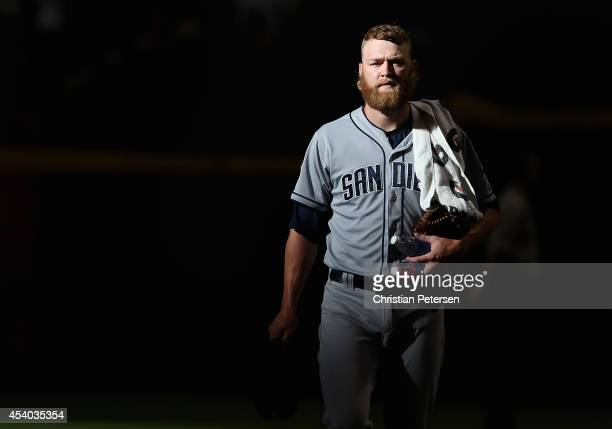 Starting pitcher Andrew Cashner of the San Diego Padres walks to the dugout before the MLB game against the Arizona Diamondbacks at Chase Field on...