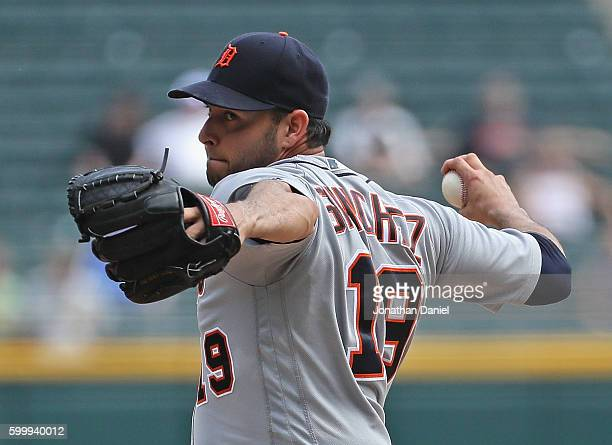 Starting pitcher Anibal Sanchez of the Detroit Tigers delivers the ball against the Chicago White Sox at US Cellular Field on September 7 2016 in...