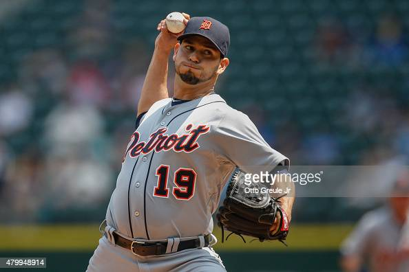 Starting pitcher Anibal Sanchez of the Detroit Tigers pitches against the Seattle Mariners in the first inning at Safeco Field on July 8 2015 in...