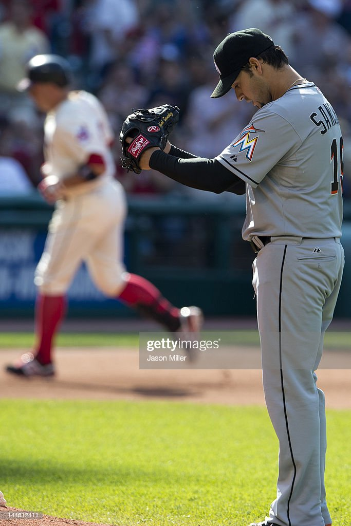 Starting pitcher <a gi-track='captionPersonalityLinkClicked' href=/galleries/search?phrase=Anibal+Sanchez&family=editorial&specificpeople=748372 ng-click='$event.stopPropagation()'>Anibal Sanchez</a> #19 of the Miami Marlins after <a gi-track='captionPersonalityLinkClicked' href=/galleries/search?phrase=Asdrubal+Cabrera&family=editorial&specificpeople=834042 ng-click='$event.stopPropagation()'>Asdrubal Cabrera</a> #13 of the Cleveland Indians hit a solo home run during the fourth inning at Progressive Field on May 19, 2012 in Cleveland, Ohio.