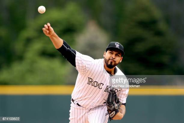Starting pitcher Antonio Senzatela of the Colorado Rockies throws in the first inning against the Washington Nationals at Coors Field on April 27...