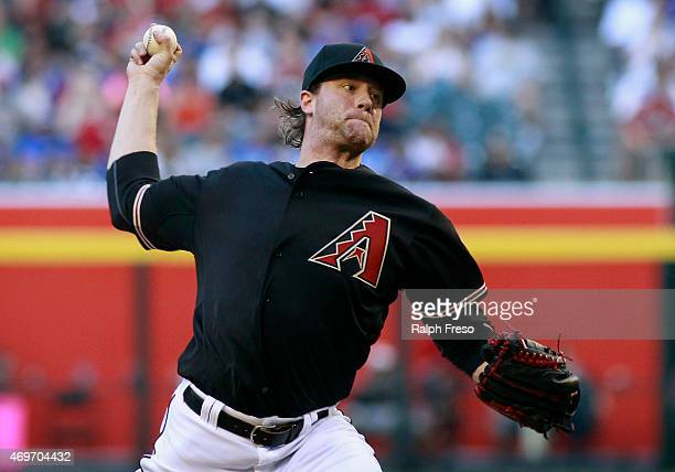 Starting pitcher Archie Bradley of the Arizona Diamondbacks delivers a pitch against the Los Angeles Dodgers during the second inning of an MLB game...