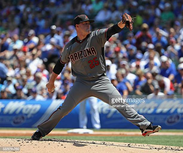Starting pitcher Archie Bradley of the Arizona Diamondbacks delivers the ball against the Chicago Cubs at Wrigley Field on June 3 2016 in Chicago...
